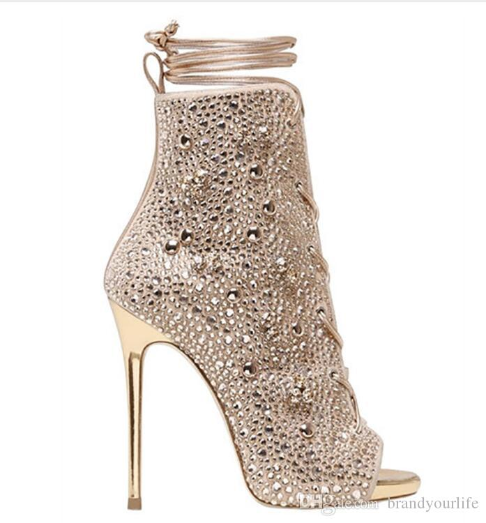2017 botines de diamantes de imitación de las mujeres botines peep toe diamante stud gladiador bota mujeres atan hasta botines zapatos de fiesta