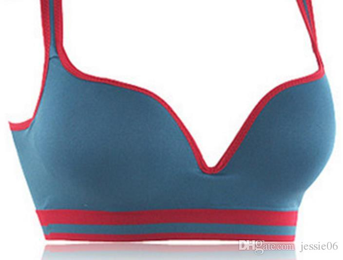 Sexiga kvinnor sömlösa bh Sport Yoga Casual Underkläder Push Up Bras Tank ActiveWear Racerback Crop Top Padded Ärmlös Bomull Sport Bra Present