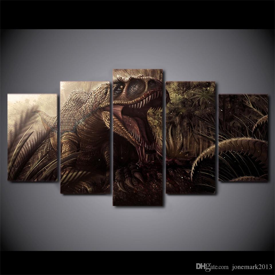Framed HD Printed Animation Dinosaur Group Painting Canvas Print room decor print poster picture canvas /ny-482
