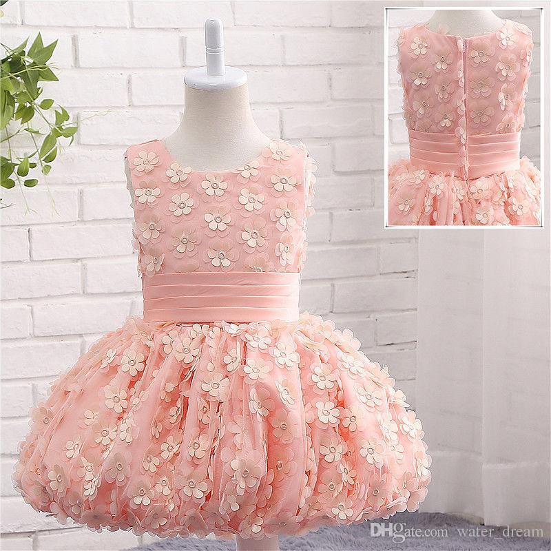 458a8a27890 Acheter La Nouvelle Fleur Enfants  s Vêtements Fille Communion Party Prom  Princesse Rose Demoiselle D honneur Mariage Fleur Filles Robe De  79.15 Du  ...