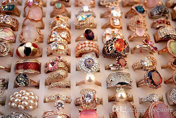 DHL vende al por mayor a las mujeres 18K oro verdadero Circón anillos para mujeres Austria 5A anillos de estilo de mezcla de diamantes nueva buena calidad barata