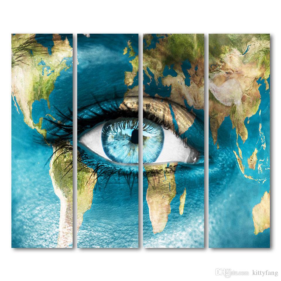 4 Stück Leinwand Kontinent Weltkarte Frau Gesicht Poster und Drucke Wand Kunst Leinwand Drucke Kunstwerk Dekor Freies Verschiffen / up-1330D