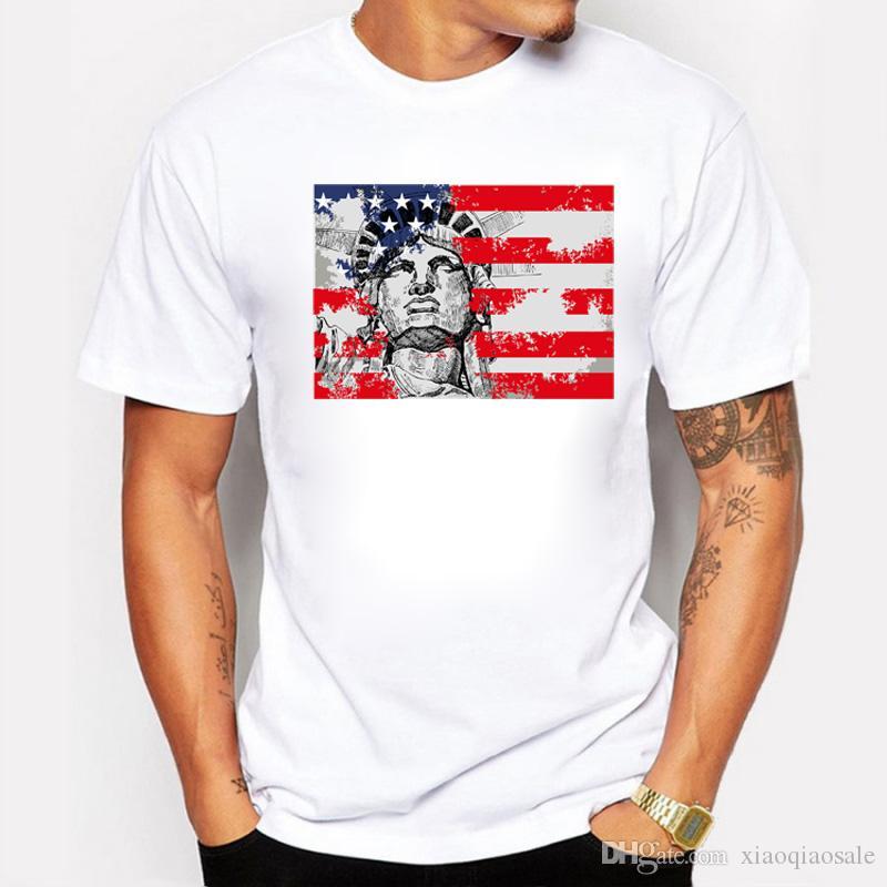 Statue of Liberty Design Hommes T-shirt Nostalgique USA Drapeau imprimé T-shirts Pour Hommes Hauts Personnalisés Imprimés À Manches Courtes Swag T-shirts