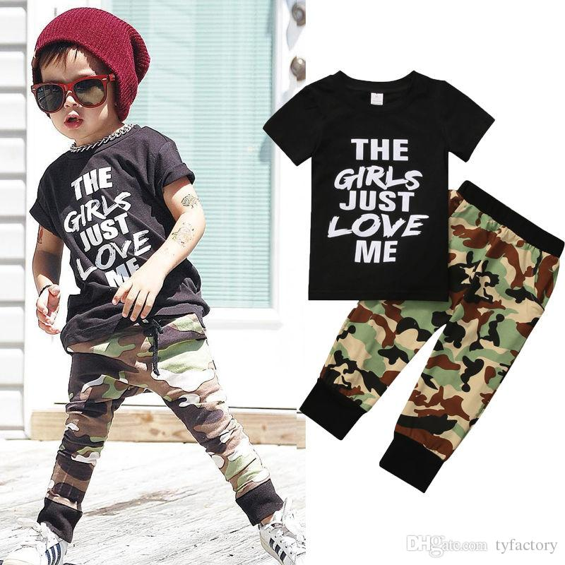 74f9d581343e4 2017 Cool Newborn Kids Clothing Baby Boys 2Pcs Set Tee Tops Camouflage Long  Bottoms Outfits