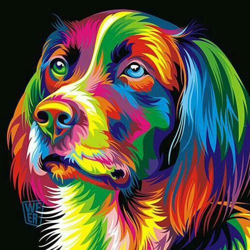 Satın Al Diy Elmas Boyama Nakış 5d Renkli Köpek Kafası Desen çapraz