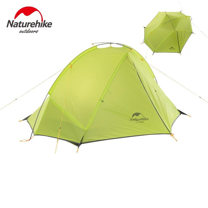 225 & Wholesale- NatureHike 2 Person Camping Tent ultralight 20D Silicone Fabric Tents Double-layer Aluminum Rod Outdoor Tent 4 Season