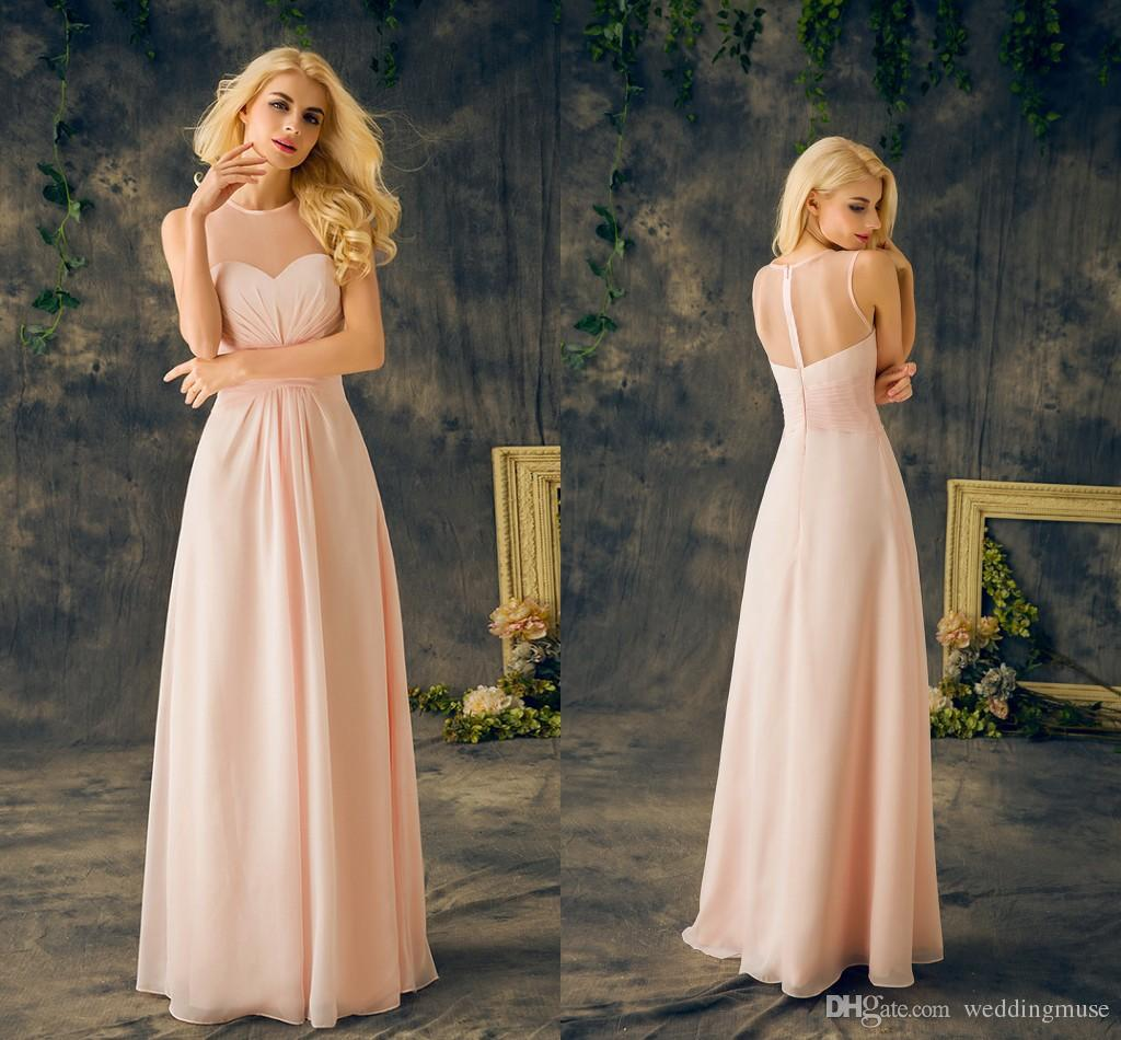 2018 baby pink bridesmaids dresses real sheer round neck sleeveless 2018 baby pink bridesmaids dresses real sheer round neck sleeveless a line long chiffon junior cheap maid of honor dresses for wedding pastel bridesmaid ombrellifo Image collections
