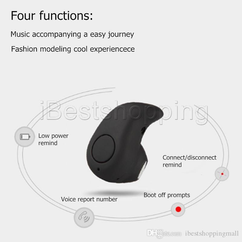 S530 Mini Wireless Stealth Bluetooth Earphone Stereo Headphone Headset Earbuds with Mic Untra-Small Hidden For iPhone with Retail Package