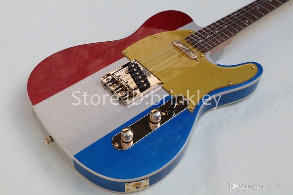 Nuovo arrivo fabbrica personalizzata scintilla chitarra metallica 6 corde chitarra tricolore elettrico trasporto libero