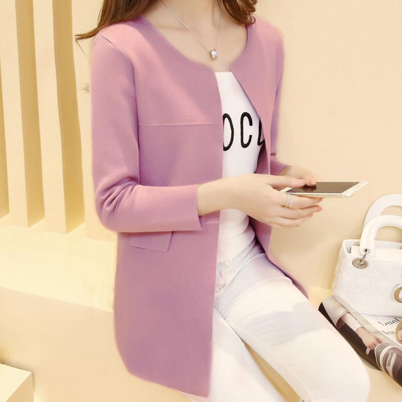 6174602b50 Wholesale- Spring And Spring Women  s 2017 New Long Knit Shirt Cardigan  Sweater Spring And Winter Sweater Jacket Long Tide Sweater Autumn Spring  And Autumn ...