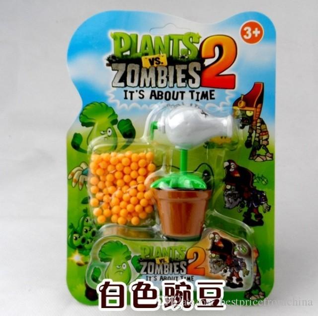 PLANTS VS ZOMBIES 2 Toys White Peashooter Plastic Spring Toy Figure Display Toy