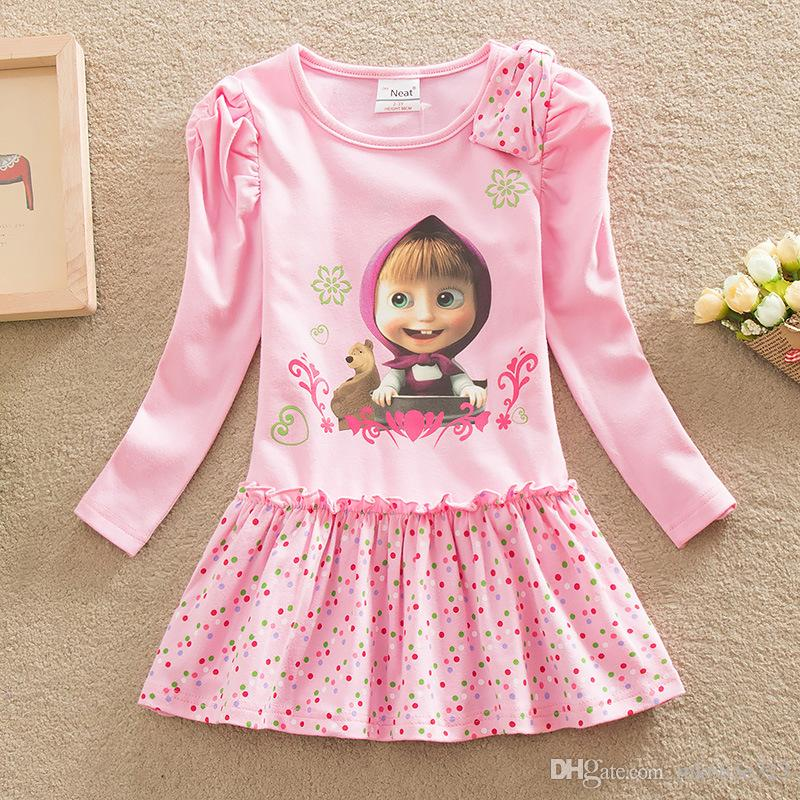 89dde083797 2019 Masha And The Bear Kids Girls Dresses Long Sleeve Casual Pink Dot  Printed Dress Baby Girl Clothes Children Clothing From Mk665e323