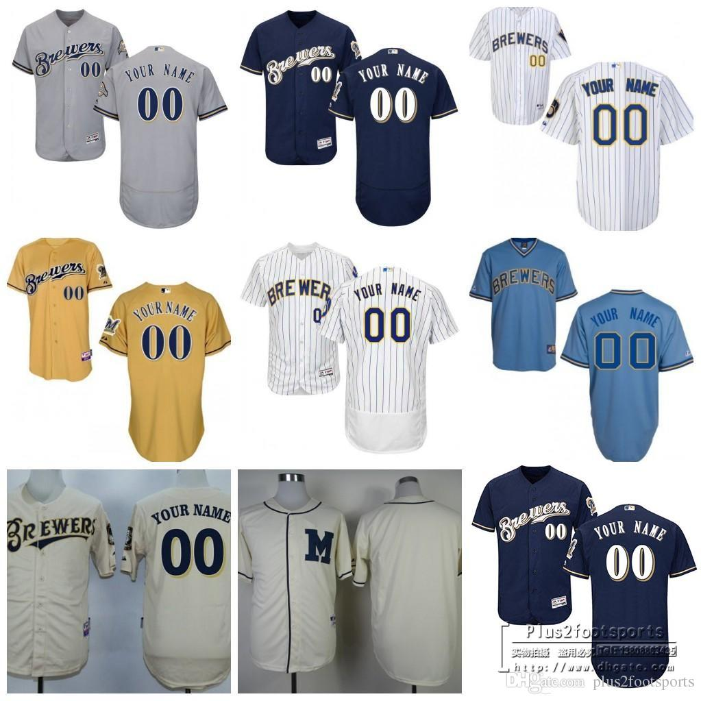... 2017 Baseball Jerseys MenS Milwaukee Brewers Customized Majestic White  Red Grey Flexbase Cool Base Authentic Custom ... 33a60d337
