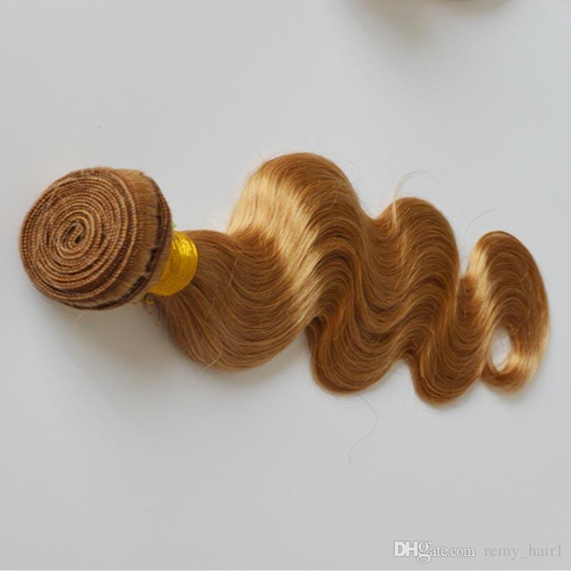 3 Adet # 27 Bal Sarışın Brezilyalı İnsan Saç Atkı Vücut Dalga Saç Demetleri Fırsatlar 9A En Kaliteli Çilek Sarışın İnsan Saç Uzantıları Uzantıları