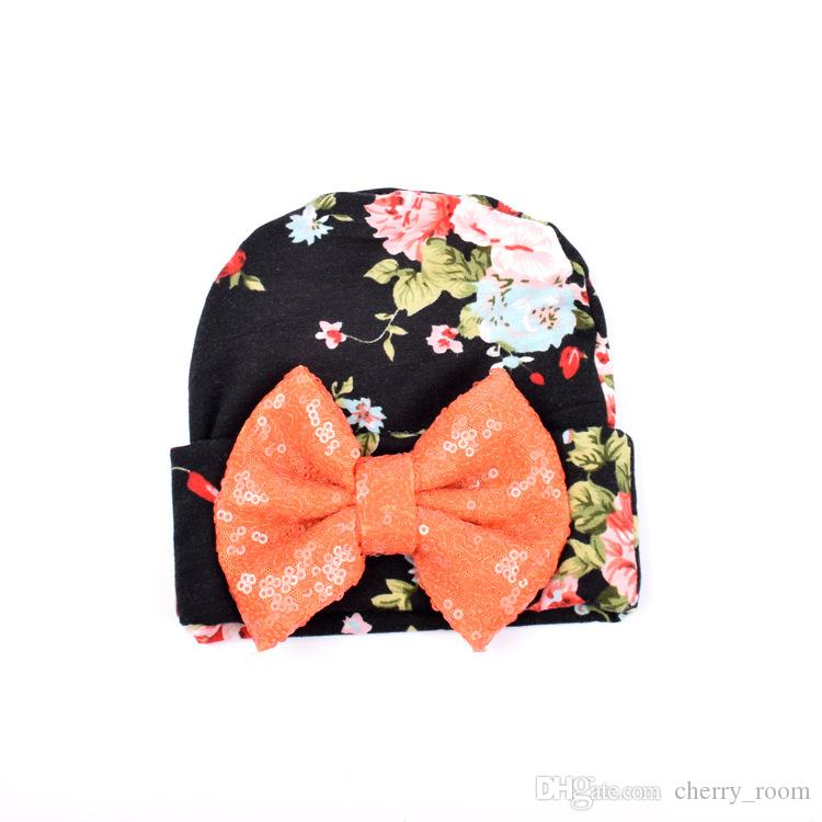 newborn hat Floral Sequin Butterfly Floral infant Cotton photography Cute Flower Printed Bow baby hats Girls Fashion Caps 7466