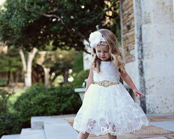 2019 NUOVI vestiti della ragazza di fiore di compleanno di Halloween di Halloween, vestito dalla ragazza di fiore del pizzo rustico, vestito dal merletto del bambino, vestiti dal bambino, paese Dres