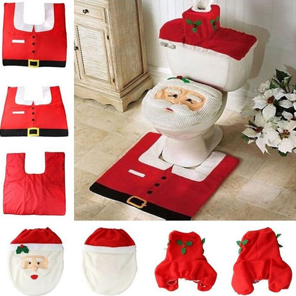 Cool 1 Set 3Pc Fancy Happy Santa Toilet Seat Cover Rug Bathroom Set Decoration Rug Christmas Xmas Natal Navidad Decoration Customarchery Wood Chair Design Ideas Customarcherynet