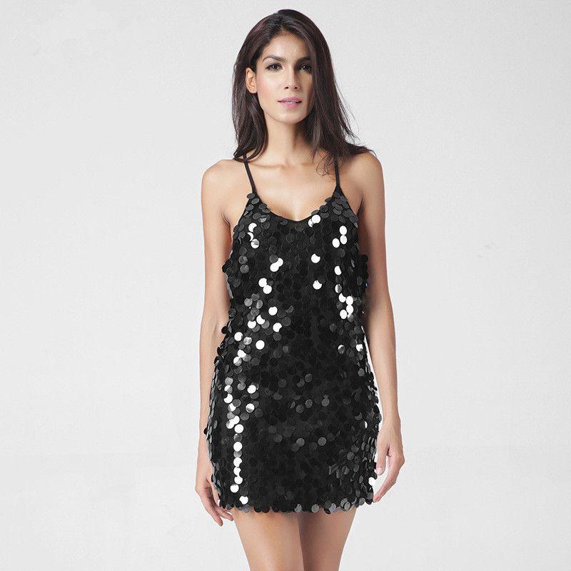 2a11742933 2019 2017 Summer Women Sexy Club Dress Backless Mini Deep V Sequin Sundress  Luxury Slip Dress Woman Party Short Dresses Women Cloth Wholesale From  Cxx666