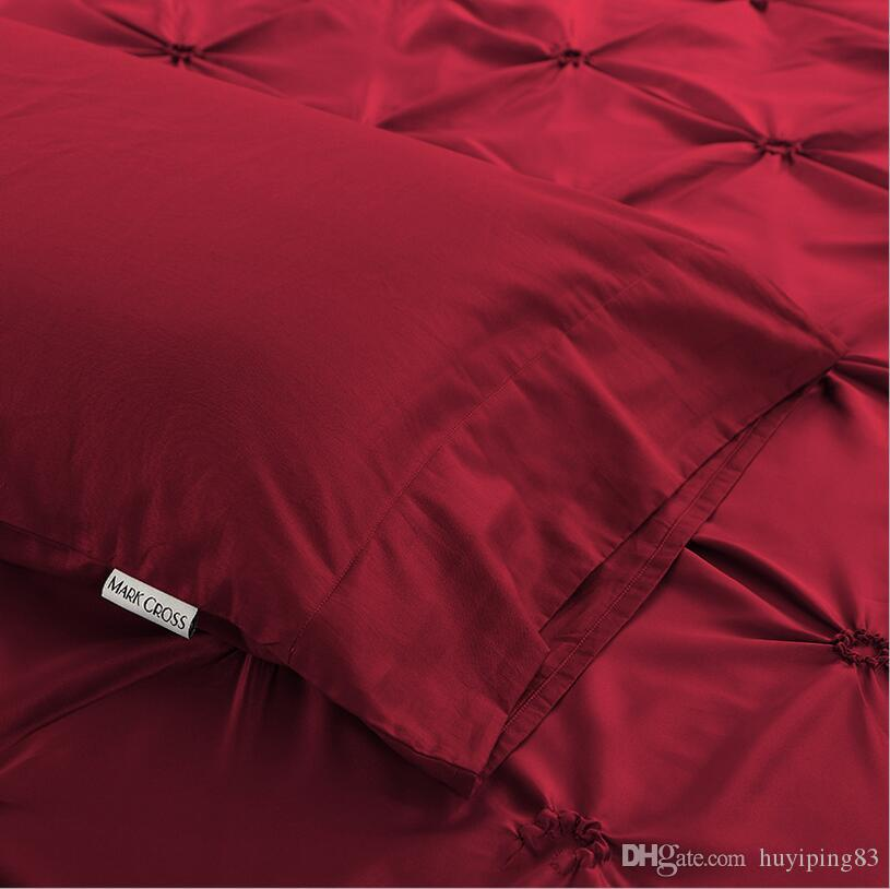 Handwork Pinch Pleat Imitated Silk Bedding Sets Cotton Solid Color Bed Sheet Set Satin Duvet Cover Bedclothes King Queen home textile