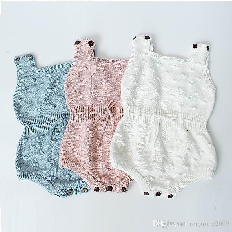 Vendita al dettaglio neonato bambino bambini bambino lavorato a maglia cotone bodystsuits tidestud rmpers primavera autunno tuta tuta tuta bambino vestiti da bambino 0-18m EG004