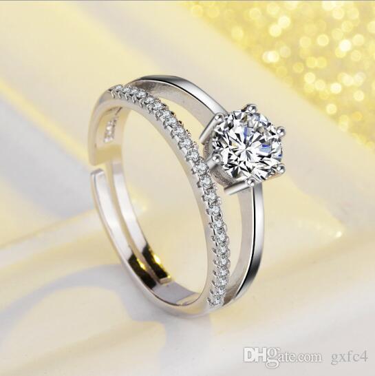 ABD GIA sertifikası SONA elmas 0.6 Ct CZ Diamant Alyans Kadınlar için Ayarlanabilir boyutu
