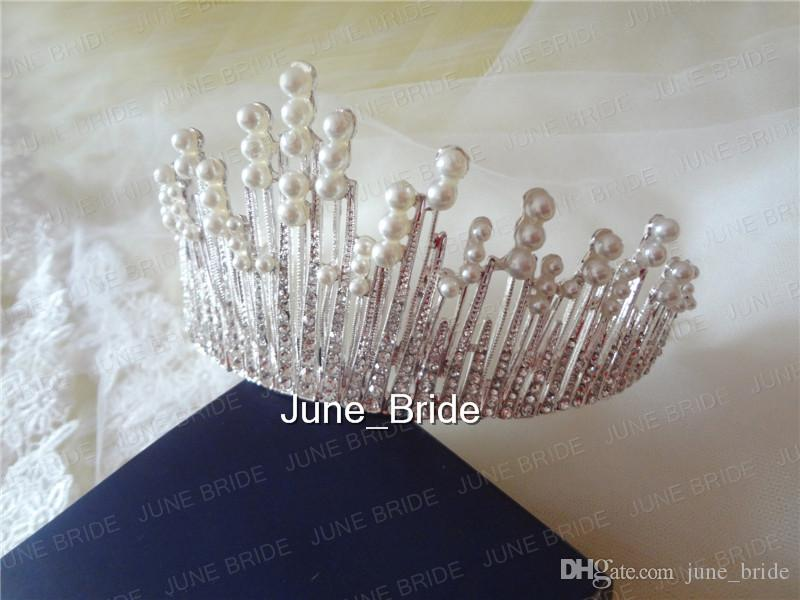 Real Photo Gorgeous Clear Crystal Pearl Bridal Crown Tiara Two Styles Stunning Bridal Wedding Hair Accessory Handmade Jewelry