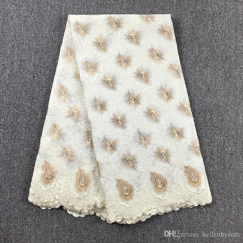 Suisse africaine de haute qualité en dentelle de voile 067, Livraison gratuite 5 yards / pack, 100% coton vêtements de dentelle de voile de fête de mariage africain