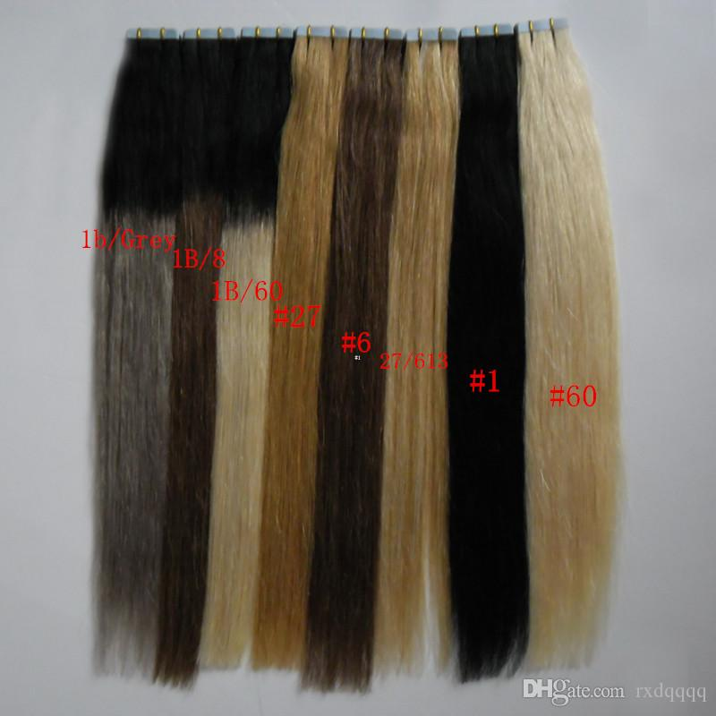 #27 #1 #60 #1b/gray #1b/8 #1b/ Tape In Human Hair Extensions Blonde brazilian hair Natural Straight Ombre Virgin Remy Hair 100g