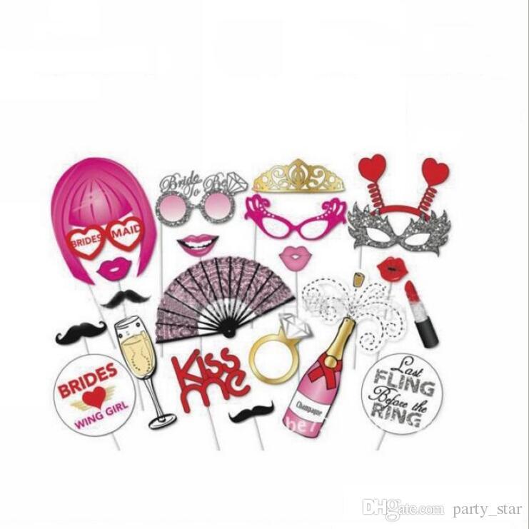 22 adet / grup DIY Maske Photo Booth Dikmeler Fan Taç Pırlanta Yüzük Bir Sopa Düğün Doğum Günü Partisi El Maske