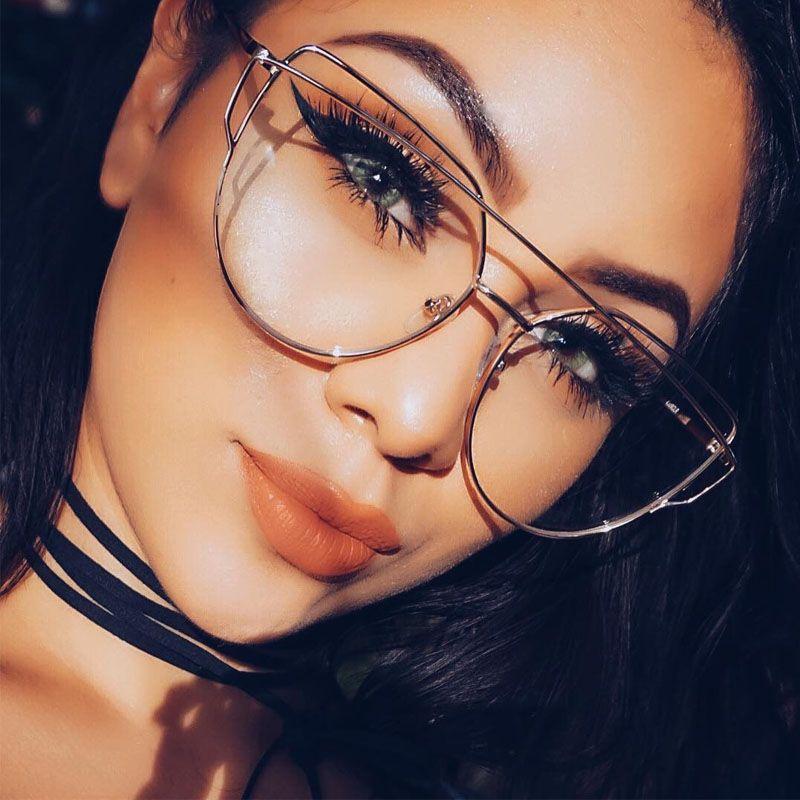 Gold Clear Cat Eye Boutique spectacles transparent frame women brand design optical glasses frame lunette