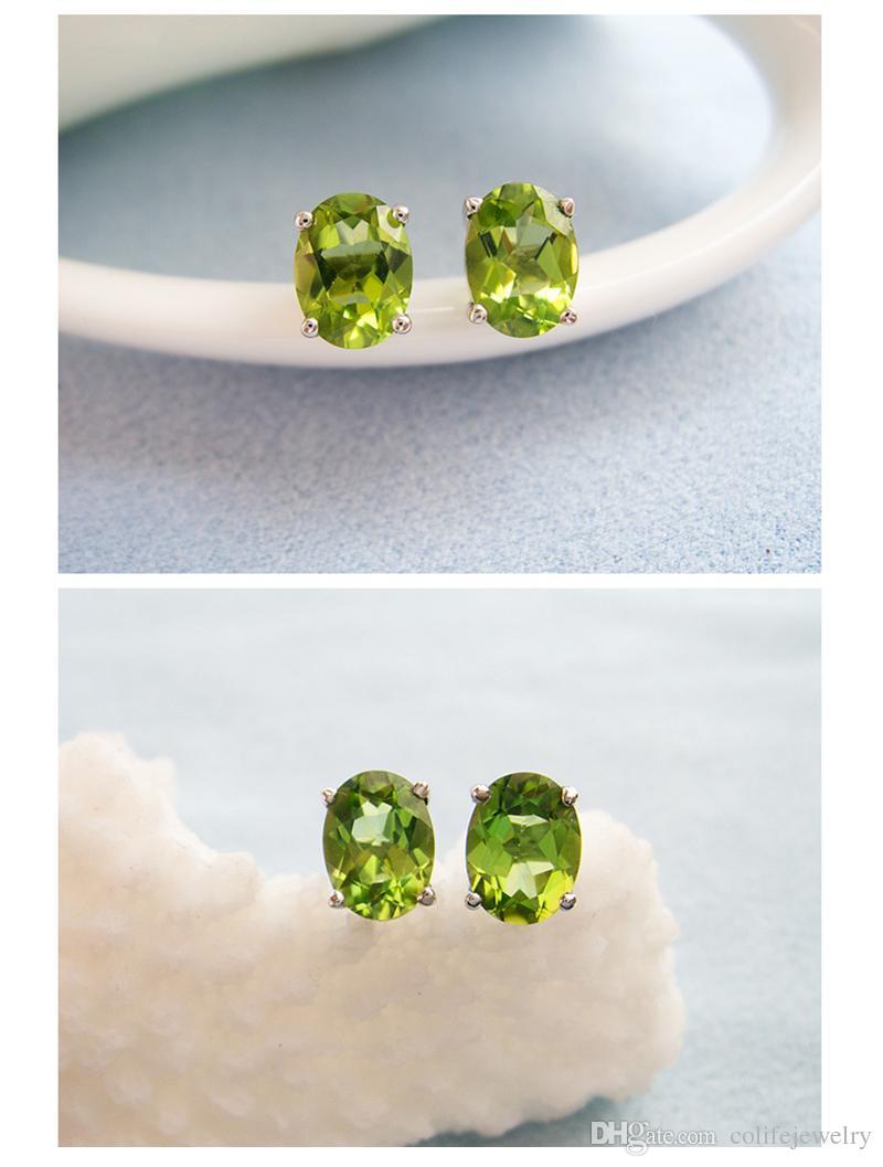 도매 가격 실버 스터드 귀걸이 925 솔리드 스털링 실버 주얼리 여성 선물을위한 100 % 천연 olivine의 보석 스터드 귀걸이