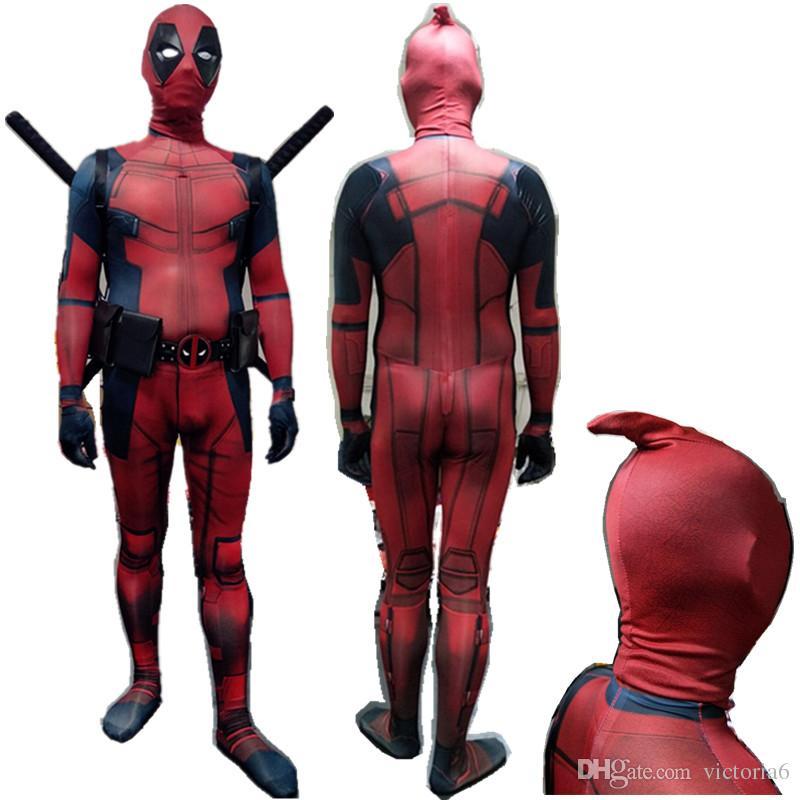 2017 new design cosplay men adult superhero cosplay deadpool costume halloween costume onesie deadpool costume party themes funny group halloween costumes - 2017 Halloween Themes