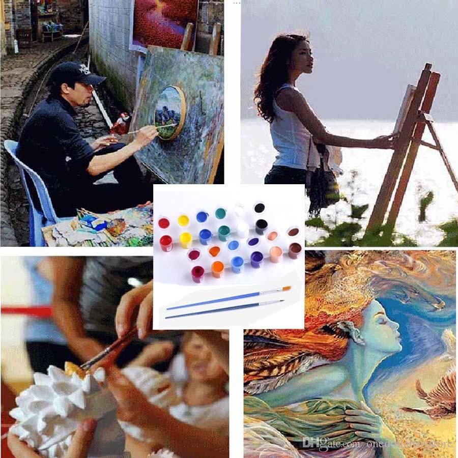 2018 Childrens Art Painting Acrylic Paint 3ml Belt Paint Brush 2 ...