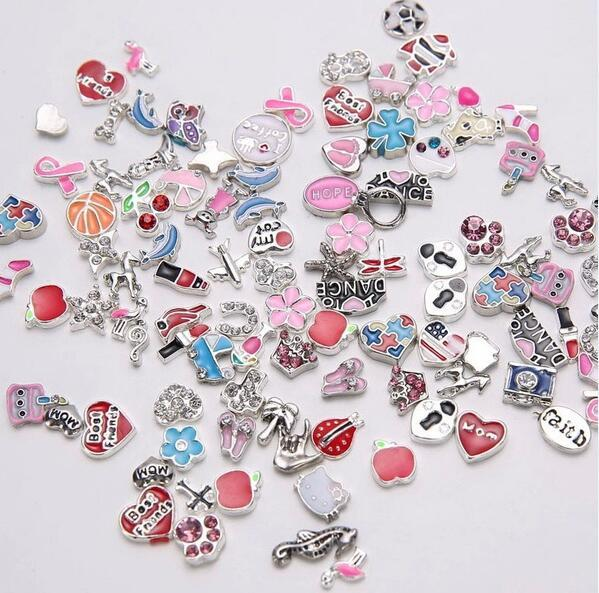 size Floating Charm of exquisite living memory ice cream, mixed pendant design of zinc alloy jewellery