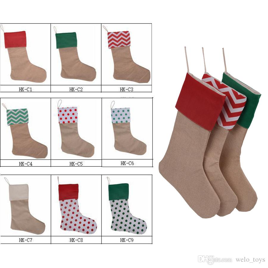 30*45cm Christmas Stockings Gift Canvas Bags Xmas Stocking Christmas ...