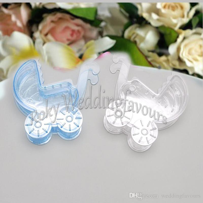 EMS Free Shipping 60pcs Creative Transparent Clear Baby Carriage Candy Box Baby Shower Plastic Candy Holder Baptism Table Gifts Supplies