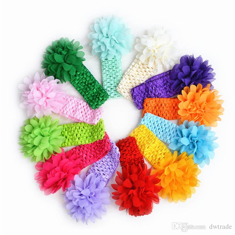 2017 Baby newborn Headband Toddlers Kids Infant Crochet weave Hairband & Big Chiffon flowers Headbands Children girls hair Accessories