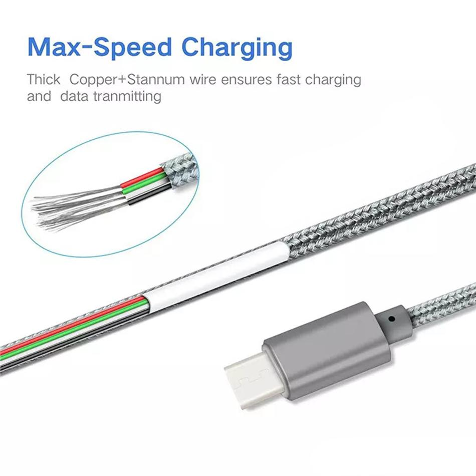 Metal Housing Braided Micro USB Cable Durable Tinning High Speed Charging USB Type C Cable for Android Smart Phone