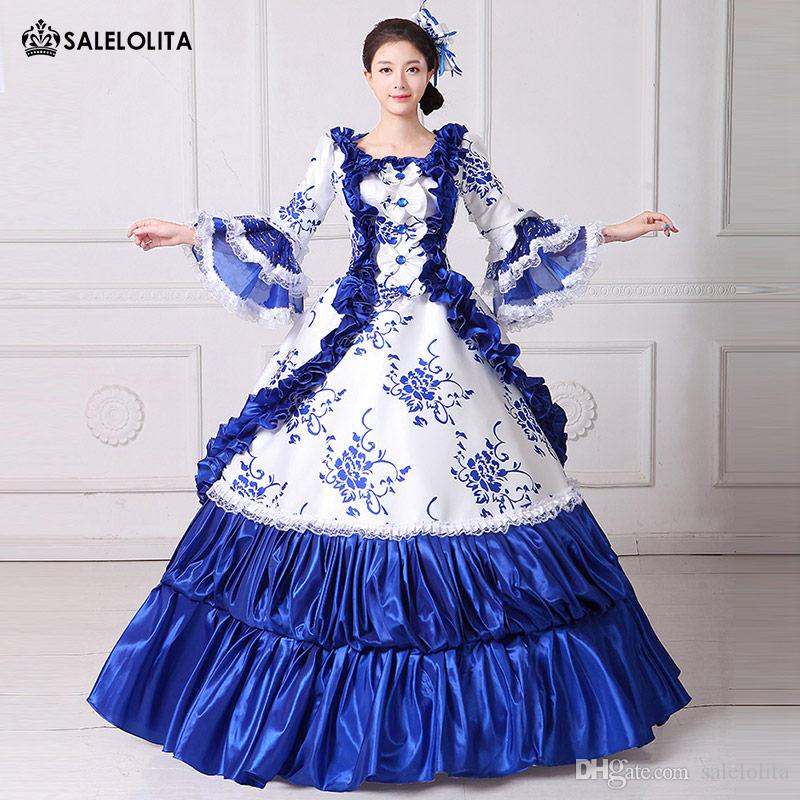 adc52b05eedc 2017 Brand New Blue Lace Printed Marie Antoinette Masquerade Ball Gown  Medieval Southern Rococo Belle Dress Theatrical Clothing Group Girl  Halloween ...