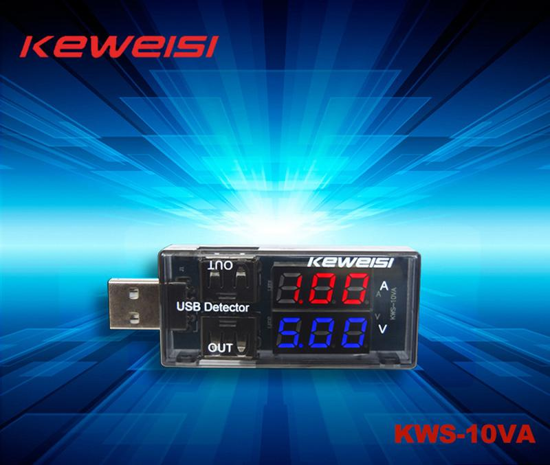 USB Detector USB Tester Voltage Current Tester Double USB LCD Display Power Bank Power Tester Supply Devices Battery Doctor KEWEISI KWS-10VA