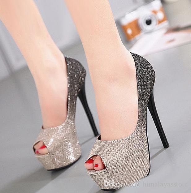 646fc29a533a Sexy Ladies High Heel Platform Peep Toe Shoes Gradient Color Party Prom  Shoes Silver Gold Pink Size 34 To 39 Slippers For Men Loafer Shoes From ...