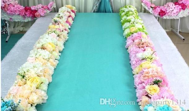 Flor Wedding Road Lead Flores Long Table Centerpieces Flower Arc Arch Porta Lintel Silk Rose Partido De Casamento Parte Backdrops Decoração