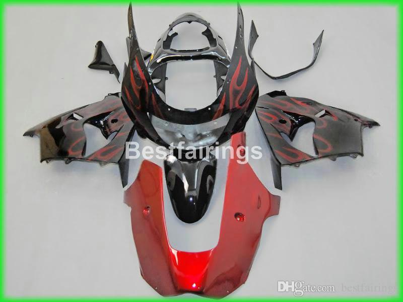 Kawasaki Ninja ZX9R için yüksek kaliteli vücut parçaları kaporta kiti 98 99 şarap kırmızı siyah motosiklet marangozluk seti ZX9R 1998 1999