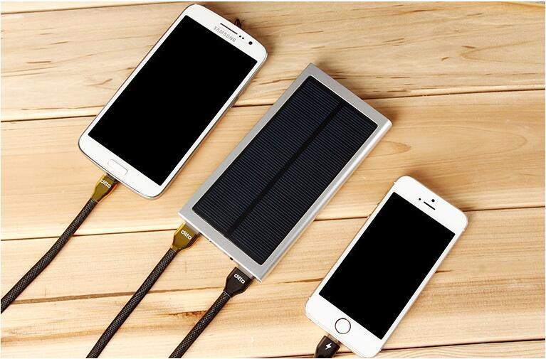Ultra thin Solar Power Bank 8000mAh External Battery Portable Universal Cell Phone PowerBank Chargers For iphone IPAD Android Smartphone
