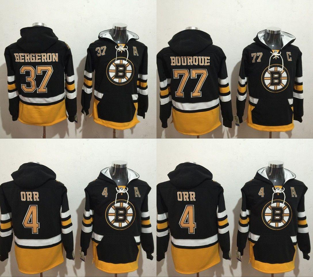 2018 New NHL Mens Boston Bruins  4 Bobby Orr 37 Bergeron 77 Bourque ... d3f2f1fd4