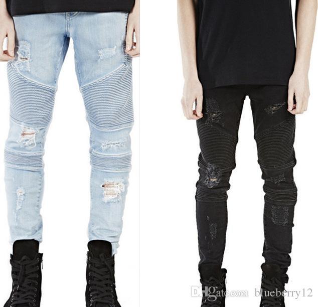 Represent clothing designer pants slp blue/black destroyed mens slim denim straight biker skinny jeans men ripped jeans
