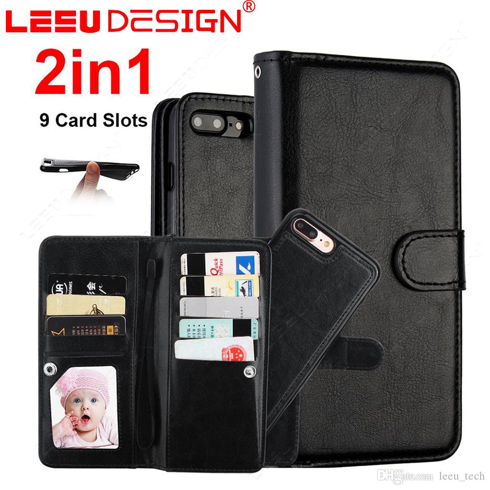 size 40 6b5e6 35bc4 9 card slots Wallet Leather Cover 2 in 1 Magnetic Detachable Removable  Phone case for iphone xr xs max 5.8 x 8 7 6.5 S9 S10 lite plus note 9