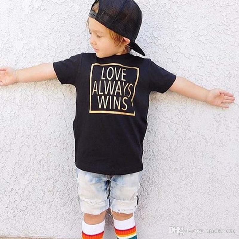 b6de984a6 Black Love Always Wins Print Baby Boy's T-Shirt Infant Tee Shirts Cotton  Toddler Tops Girl T Shirt Children Clothes Outfits Hot Sale