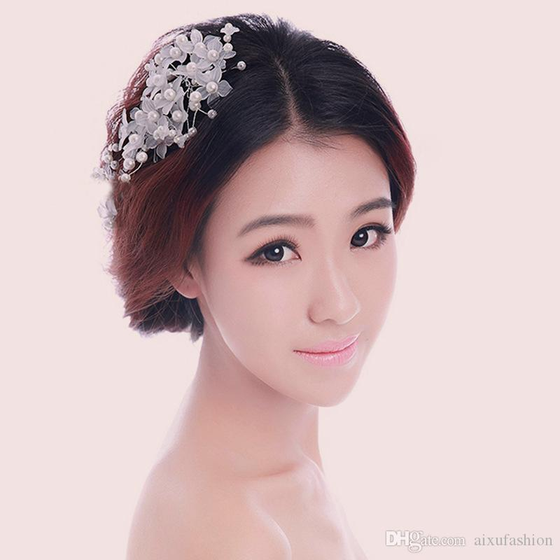 Wholesale Bridal Hairpins Handmade Lace Pearl Bride Headdress Wedding Hair Accessories New Hot Women Hair Combs Hair Jewelry