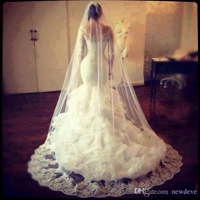 Lace Bridal Gowns Mermaid Puffy Ruffles Skirt Long Sleeves Sheer Wedding Dresses Online Vintage Country Style Vestido De Novia